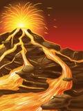 O vulcão é quebrado ilustração stock