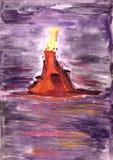 O vulcão no espaço Fotos de Stock Royalty Free