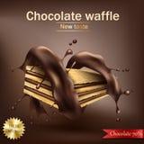 O waffle com o enchimento do chocolate envolvido na espiral derreteu o chocolate ilustração do vetor