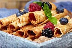 O waffle rola com bagas Imagens de Stock