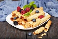 O waffle rola com bagas Foto de Stock Royalty Free