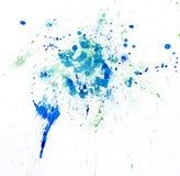 O watercolour da pintura chapinha o azul Mancha do ponto das aquarelas isolada Foto de Stock