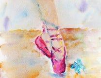 O watercolour das sapatas de bailado do rosa Fotos de Stock Royalty Free