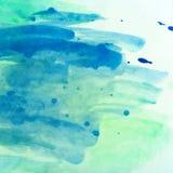 O watercolour pintado horizontal verde do azul e do oceano texture o fundo Foto de Stock