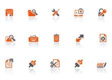 O Web e conecta ícones ilustração stock