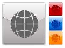 O Web quadrado abotoa o globo Imagem de Stock Royalty Free