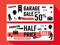 O Web site do retalho do disconto da promoção de venda apresenta a bandeira fotografia de stock