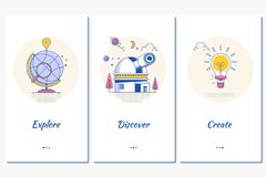 O Web site ou a página móvel da aterrissagem do app para descobrir exploram para criar ilustração stock