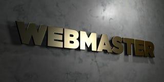 O Webmaster - sinal do ouro montado na parede de mármore lustrosa - 3D rendeu a ilustração conservada em estoque livre dos direit ilustração do vetor