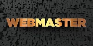 O Webmaster - texto do ouro no fundo preto - 3D rendeu a imagem conservada em estoque livre dos direitos ilustração stock