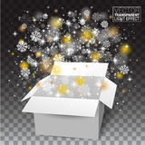 O White Christmas abre a caixa, neva e brilha quedas de uma caixa de presente Fotos de Stock