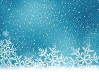 O White Christmas azul, fundo do inverno com neve lasca-se Fotos de Stock Royalty Free