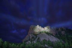 Oświetleniowa ceremonia przy Mt rushmore Zdjęcia Stock