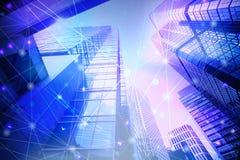 O wifi abstrato conectou pontos no fundo azul brilhante tecnologia Fotografia de Stock