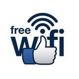 O wifi livre aqui assina o conceito Imagens de Stock Royalty Free