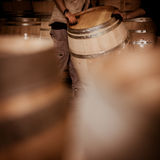 O Winemaker barrels mover-se para cima ou para baixo rolando na terra Fotografia de Stock Royalty Free