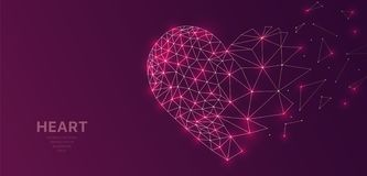 O wireframe poligonal engrena futurista com o coração, sinal do conceito do amor no fundo escuro Linhas do vetor, pontos e formas ilustração royalty free