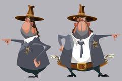 O xerife do homem dos desenhos animados em um chapéu está na parte dianteira e no lado Foto de Stock