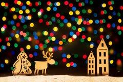 O Xmas ilumina estrelas, árvore de Natal, decoração do vintage, cervo e Imagens de Stock Royalty Free
