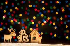 O Xmas ilumina-se como estrelas, árvore de Natal, decoração do vintage, cervo a Fotos de Stock Royalty Free