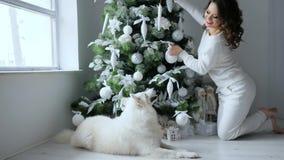O Xmas, jovem mulher bonita decora a árvore de Natal ao lado do cão branco no ano novo da véspera video estoque