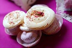 O zéfiro e os doces cor-de-rosa com aumentaram Fotografia de Stock