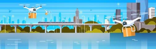O zangão com caixas voa sobre o fundo moderno da cidade, bandeira horizontal do conceito da entrega do transporte aéreo ilustração stock