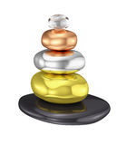 O zen empilhou as pedras metálicas isoladas Imagens de Stock Royalty Free
