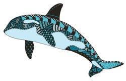 O zentangle da baleia de assassino estilizou, vector, ilustração, a mão livre Fotografia de Stock