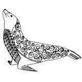 O zentangle do leão de mar estilizou, ilustração do vetor do selo com lápis a mão livre, teste padrão tirado mão ilustração do vetor