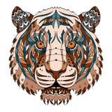 O zentangle principal do tigre estilizou, vector, ilustração, teste padrão, franco Fotografia de Stock Royalty Free