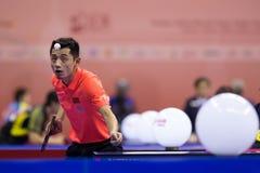 O Zhang de China que joga durante o tênis de mesa Chapionship em Malaysi Foto de Stock