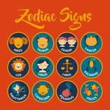 O zodíaco assina a arte do vetor Imagens de Stock Royalty Free