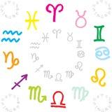 O zodíaco assina o círculo Fotos de Stock Royalty Free