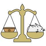 O zodíaco de Bunny Libra assina dentro o estilo dos desenhos animados ilustração stock