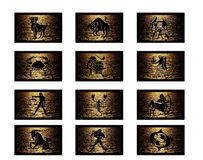 O zodíaco assina o fundo Fotos de Stock