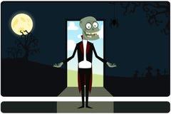 O zombi amusing em uma entrada ilustração royalty free