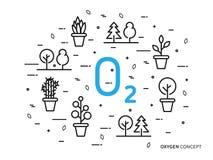O2 zuurstof lineaire vectorillustratie met huisinstallaties royalty-vrije illustratie