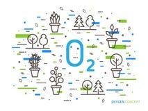 O2 zuurstof lineaire vectorillustratie met huisinstallaties stock illustratie