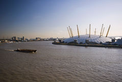 O2 arena en rivier Theems Stock Foto's