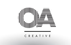 OA O A Black and White Lines Letter Logo Design. Royalty Free Stock Image