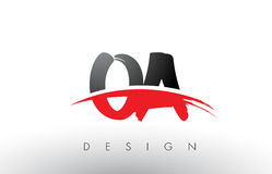 OA O A Brush Logo Letters with Red and Black Swoosh Brush Front Royalty Free Stock Photography
