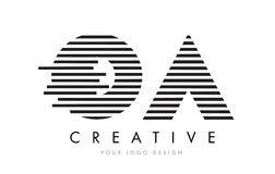 OA O A Zebra Letter Logo Design with Black and White Stripes Royalty Free Stock Photo