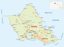 Oahu οδικός χάρτης ελεύθερη απεικόνιση δικαιώματος