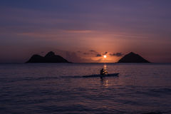 Oahu beach sunrise Stock Photo
