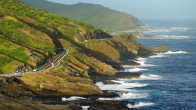 Oahu Hawaii South Shore Pacific Coast. The highway follows the coast along Hawaii and her south shore stock footage
