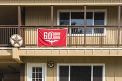Oahu, Hawaii / United States - February 21 2018: The Go John John flag. Flies in a Haleiwa house for the local surfer John John Florence Royalty Free Stock Photos