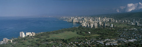 This is Oahu Island in daylight. It is the view from Diamond Head Volcano. Stock Photography