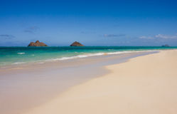 Oahu Lanakai Sandy Beach. Scenic view of the beautiful Lanakai sandy beach. Oahu, Hawaii East Shore royalty free stock photography
