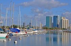 Oahu Marina. This is a marina near the Hawaiian Villge Resort in Hawaii Royalty Free Stock Photo